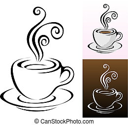 coffee cups icons in different colours styles, vector...