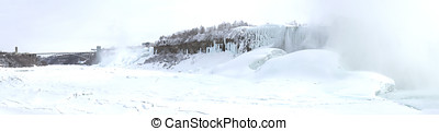 Frozen Niagara River with American and Horseshoe Falls and Rainb