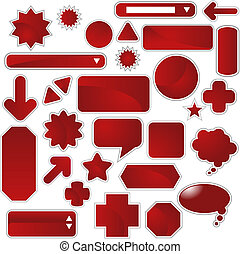 Red Web Sticker Set isolated on a white background.