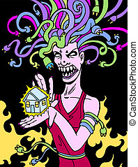 power surge drawing of a medusa woman with electrical cord...
