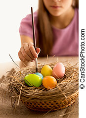 poco, niña, tenencia, cepillo, y, Pintura, Pascua,...