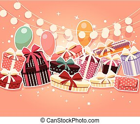 Birthday background with sticker presents and balloons,...