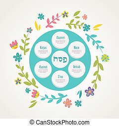 Passover seder plate with floral decoration. Passover in...