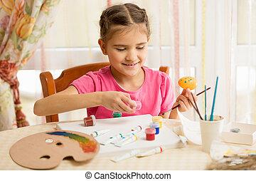 little girl painting eggs for Easter