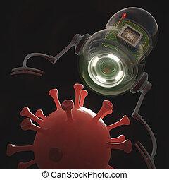 Nanobot x Virus - Nanobot capturing a virus in the...