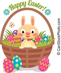 Easter bunny in a basket with eggs