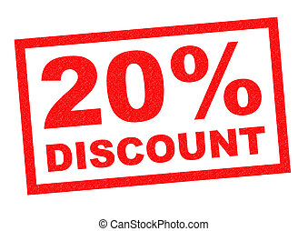 20% DISCOUNT red Rubber Stamp over a white background.