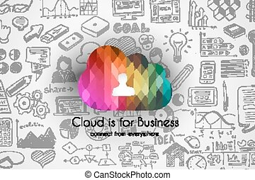 Cloud Computing concept with infographics sketch set: design...