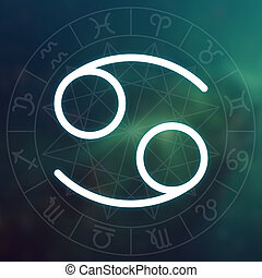 Zodiac sign - Cancer. White thin simple line astrological...