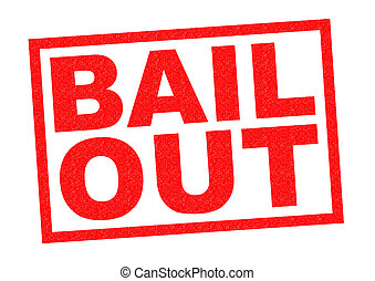 BAIL OUT red Rubber Stamp over a white background