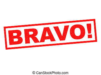 BRAVO red Rubber Stamp over a white background