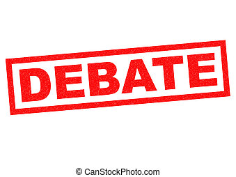 DEBATE red Rubber Stamp over a white background.