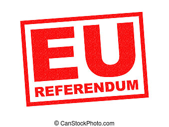 EU REFERENDUM red Rubber Stamp over a white background.