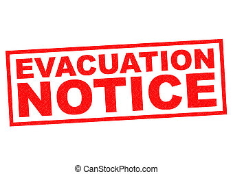 EVACUATION NOTICE red Rubber Stamp over a white background