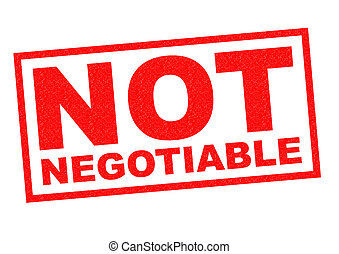 NOT NEGOTIABLE red Rubber Stamp over a white background
