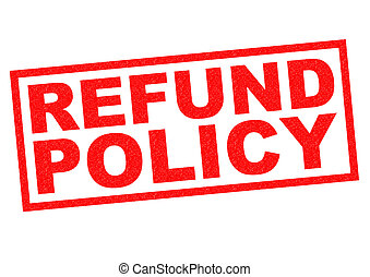 REFUND POLICY red Rubber Stamp over a white background