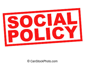 SOCIAL POLICY red Rubber Stamp over a white background