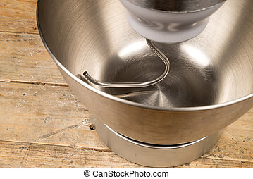 Food processor - Steel bowl of a food processor with an...