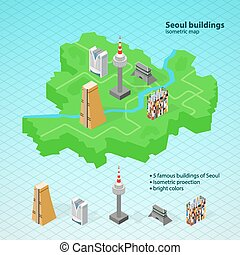 Isometric map of SeoulFamous buildings of Seoul - Isometric...