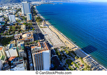 Nha Trang city panorama with sea, Vietnam - Aerial view over...