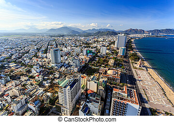Nha Trang city panorama with sea and mountains Vietnam -...