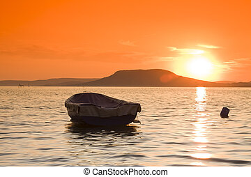 Sunset scene- lake Balaton-Hungary