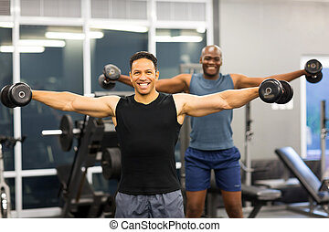 men doing dumbbell workout