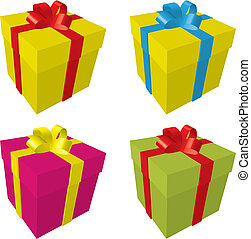 colourful gift Boxes - 4 Gift Boxes isolated on white,...