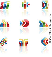 Glossy retro icons of abstract design elements, vector...