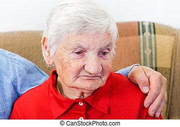 Elderly woman - Portrait of the sweet smiling elderly...