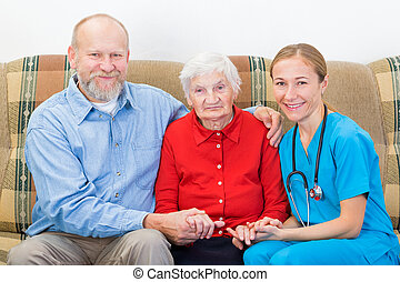 Elderly care - Elderly woman and her son at the doctor