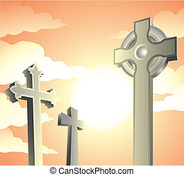 graveyard on a sunny day, vector illustration