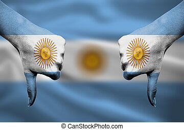 failure of Argentina - hands gesturing thumbs down in front of f