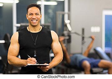 Retrato, ginásio, instrutor, macho
