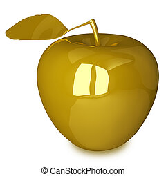 Golden apple with leaf isolated on white background