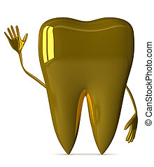 Golden tooth waving hand
