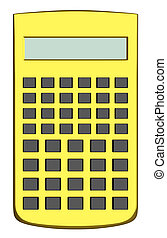 Golden scientific calculator isolated