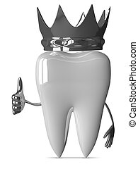 Tooth with crown, thumb up - White tooth character with...