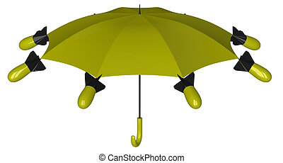 Nuclear umbrella - Yellow and black nuclear umbrella with...