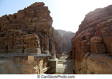Rocks Wadi Mujib -- national park located in area of Dead...