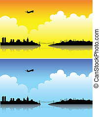 Istanbul on a bright day and at dusk - Istanbul silhouettes...