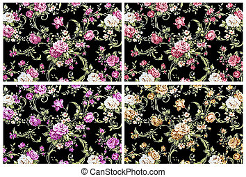 rose vintage on black fabric background, set 4