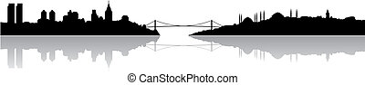 Istanbul silhouette and its reflection, vector illustration...