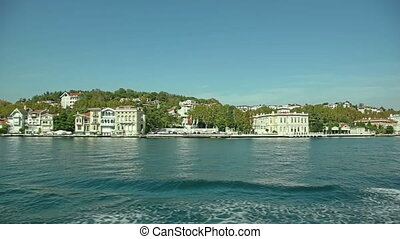 Houses and mansions in Istanbul - Sailing in front of old...