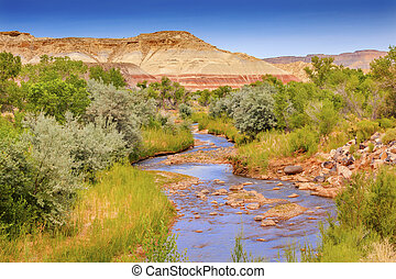 Red White Sandstone Mountain Fremont River Capitol Reef...