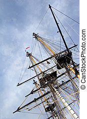 Sailing ship - Masts and sails of an old sailing ship in the...