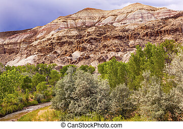 White Sandstone Mountain Fremont River Capitol Reef National...