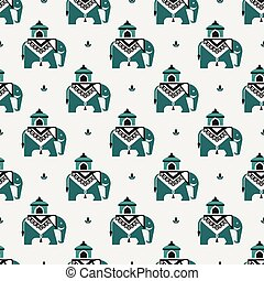 elephants in the Indian pattern - Seamless pattern with...