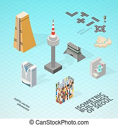Isometric buildings of Seoul. Vector famous buildings of...