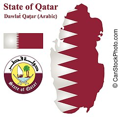 Qatari Flag - Flag and national coat of arms of the Arabian...